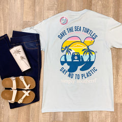 'Say No To Plastic' Sunset Sea Turtle Short Sleeve by Simply Southern