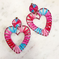 Woven Heart Dangle Earrings