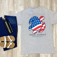 'Red, White & Ocean Blue' Flag Sea Turtle Short Sleeve by Simply Southern
