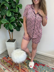Short Sleeve Button Up Pajama Set - Pink Leopard