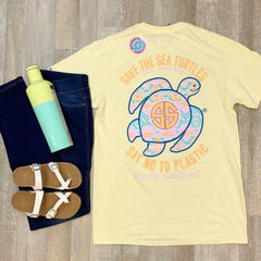'Say No To Plastic' Aztec Sea Turtle Short Sleeve by Simply Southern