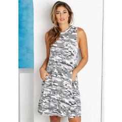 Alyssa Swing Dress White Camo by Mud Pie