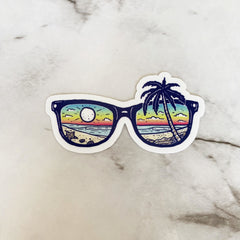 'Beach Scene' Sunglasses Vinyl Sticker