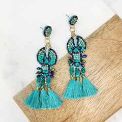 Tassel Jeweled Lobster Dangles - Blue