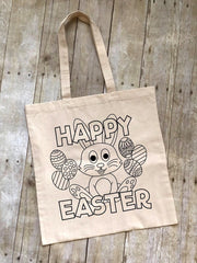 'Happy Easter' Coloring Tote Bag