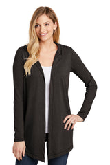 Marian Lightweight Open Front Hooded Cardigan - Dark Gray