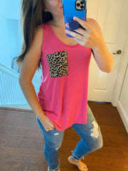 Lainey Sleeveless Leopard Print Pocket Top - Pink