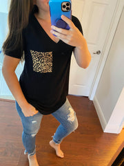 Kathryn Short Sleeve Leopard Pocket Top - Black