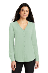 Lindsey Long Sleeve Button-Front Blouse - Mint (1-2 Week Production Time)