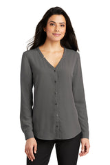 Lindsey Long Sleeve Button-Front Blouse - Gray (1-2 Week Production Time)