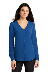 Lindsey Long Sleeve Button-Front Blouse - Royal (1-2 Week Production Time)
