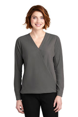 Whitney Wrap Blouse - Gray (1-2 Week Production Time)