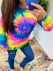 Neon Spiral Tie Dye Long Sleeve Tee (Ships in 1-2 Weeks)