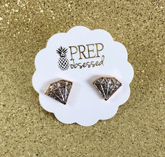Diamond Glitter Stud Earrings