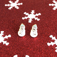Holiday Christmas Cozy Snowman Signature Enamel Stud Earrings