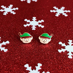 Smiling Elf Signature Enamel Stud Holiday Earrings