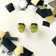 Monster Man Frankenstein Halloween Stud Earrings