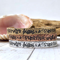 'Mermaid Kisses & Starfish Wishes' Cuff Bracelet-Choice of Color