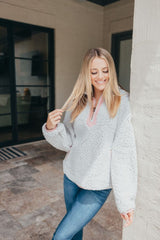 Y-Neck Pullover by Simply Southern - Gray