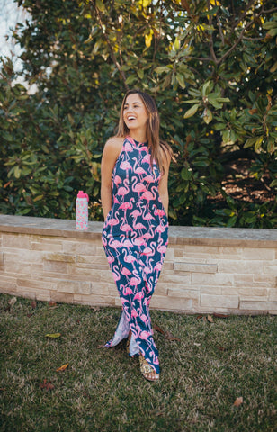 Flamingo Print Maxi Dress