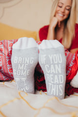 'Bring Me Some Wine' Non-Slip Socks by Simply Southern - White