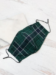 Adult Printed Face Mask - Green Plaid