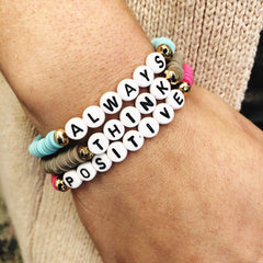 'Always Think Positive' Disc Stretch Bracelet Set
