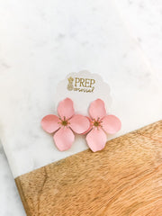 Amelia Flower Statement Earrings - Blush