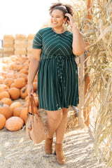 Angles And Stripes Dress in Hunter Green (Ships in 1-2 Weeks)