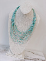 Ari Seed Bead Statement Necklace - Mint