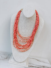 Ari Seed Bead Statement Necklace - Coral