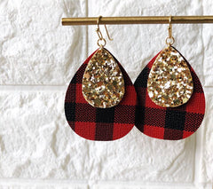 Aspen Buffalo Check Dangle Earrings - Red