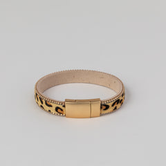 Leopard Leather Accent Bracelet