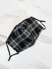 Adult Printed Face Mask - Black Plaid