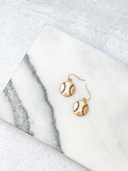 Baseball Dangle Earrings - Gold