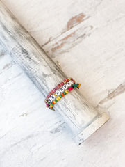 'Be Happy' Beaded Stack Bracelet Set of 3