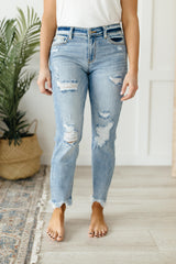 Destroyed Hem Boyfriend Jeans - 3/2