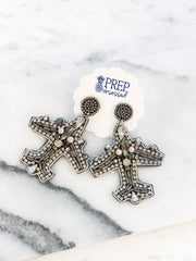Beaded Airplane Statement Earrings - Silver