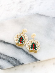 Beaded Christmas Snow Globe Statement Earrings