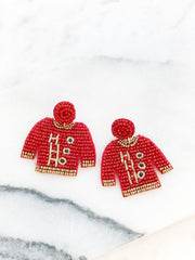 Beaded Christmas Sweater Statement Earrings - Ho Ho Ho