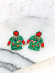 Beaded Christmas Sweater Statement Earrings - Lights