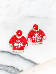 Beaded Christmas Sweater Statement Earrings - Snowflake