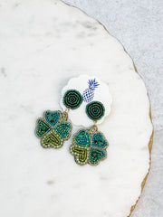 Four Leaf Clover Beaded Dangle Earrings