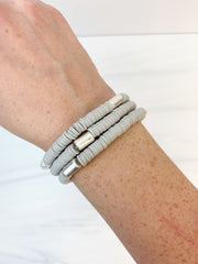 Rubber Beaded Disc Stretch Bracelet Stack - Grey