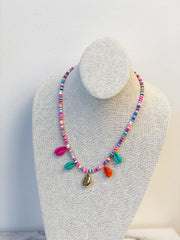 Beaded Disc Puka Shell Necklace - Multi