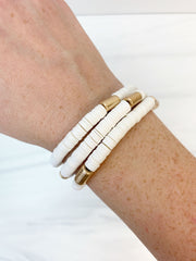Rubber Beaded Disc Stretch Bracelet Stack - White