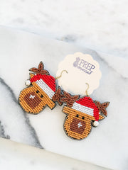 Beaded Reindeer Statement Earrings