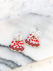 Beaded Snow Hat Statement Earrings