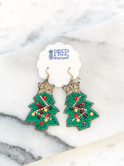 Beaded Christmas Tree with Ornaments Statement Earrings