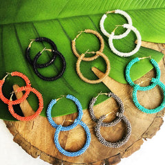 Camille Beaded Hoops - Choice of Color